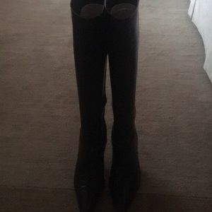 Bally Knee high Black Leather Boots